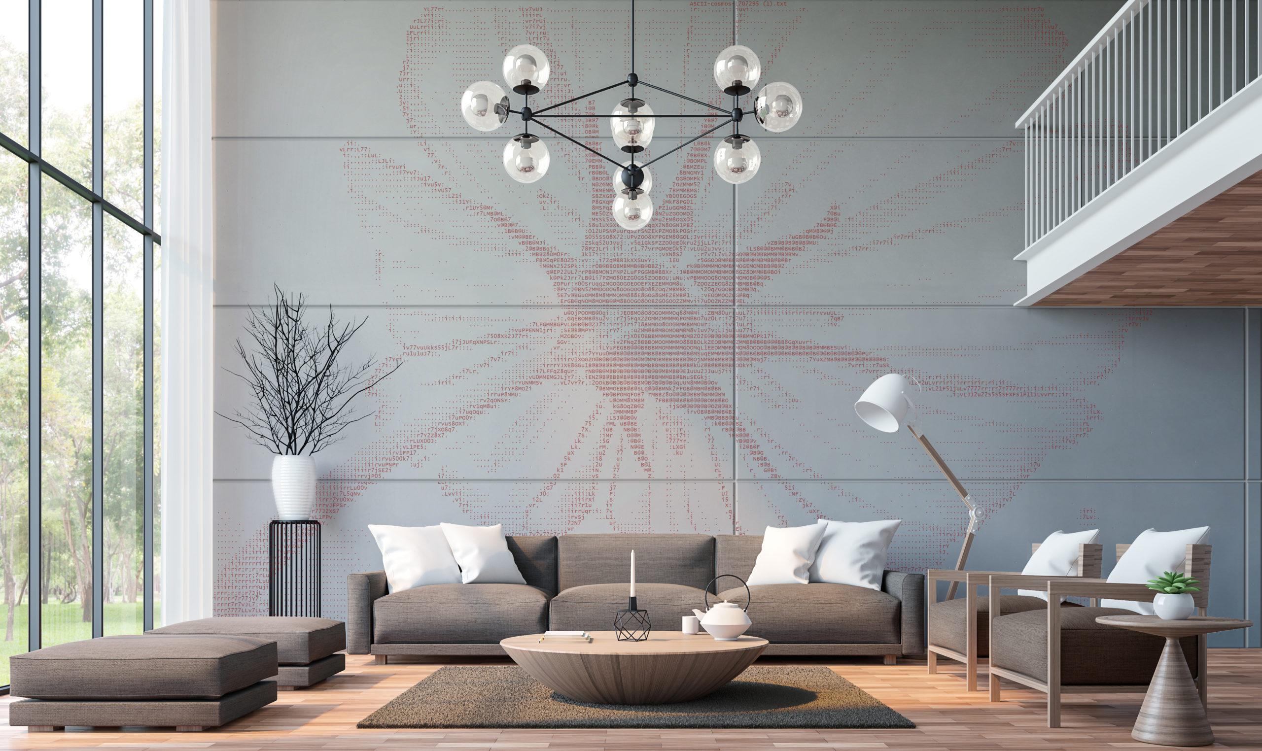 Modern living room with mezzanine 3d rendering image